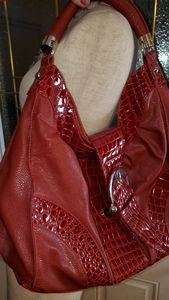 Red croc leather statment purse